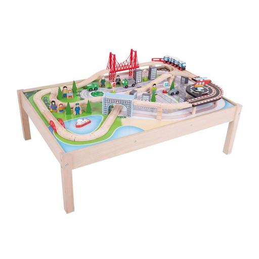 City Wooden Train Set and Table