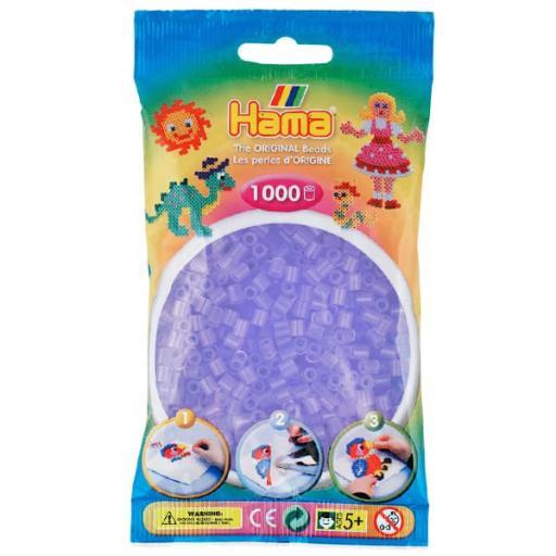 Hama 1,000 Translucent Lilac Midi Beads in a Bag