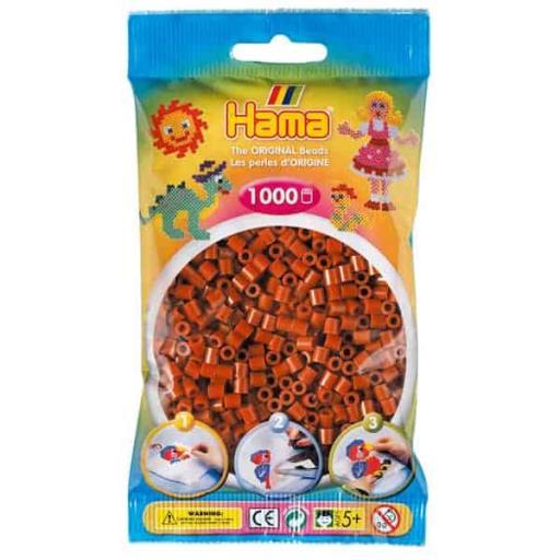 Hama 1,000 Reddish Brown Midi Beads in a Bag