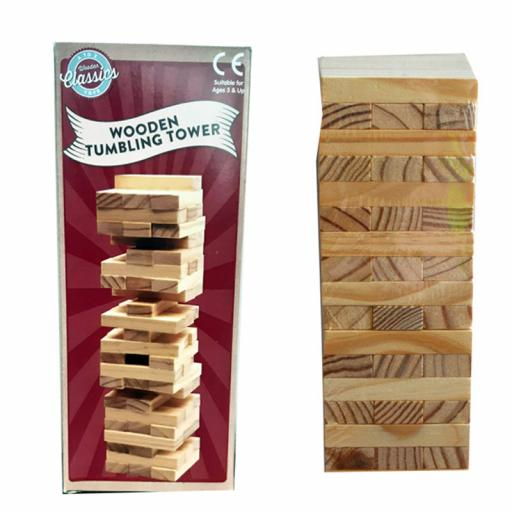 A to Z Wooden Tumbling Tower Toy 16 Layers