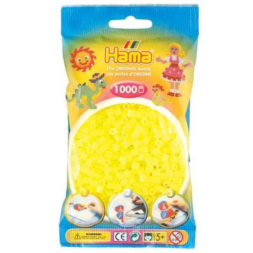Hama 1,000 Neon Yellow Midi Beads in a Bag