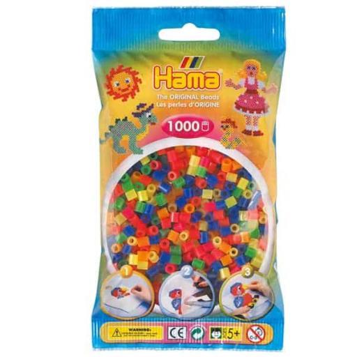 Hama 1,000 Neon Mix Midi Beads in a Bag