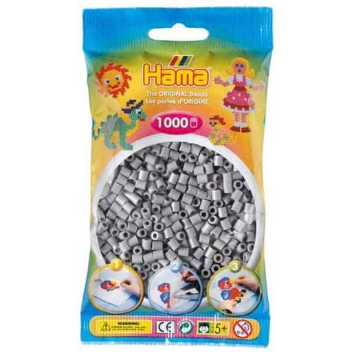 Hama 1,000 Grey Midi Beads in a Bag