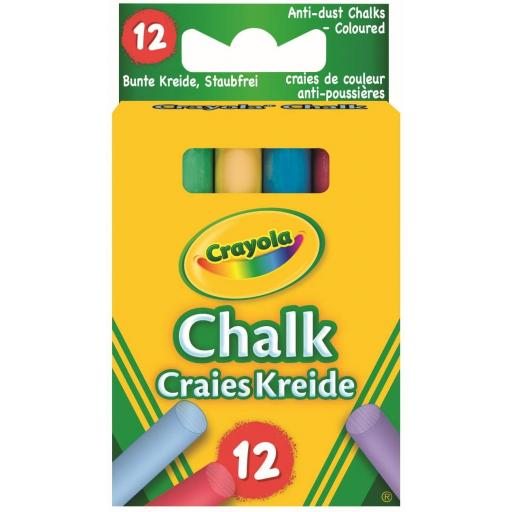 Crayola Anti Dust Chalk - Coloured (Pack of 12)