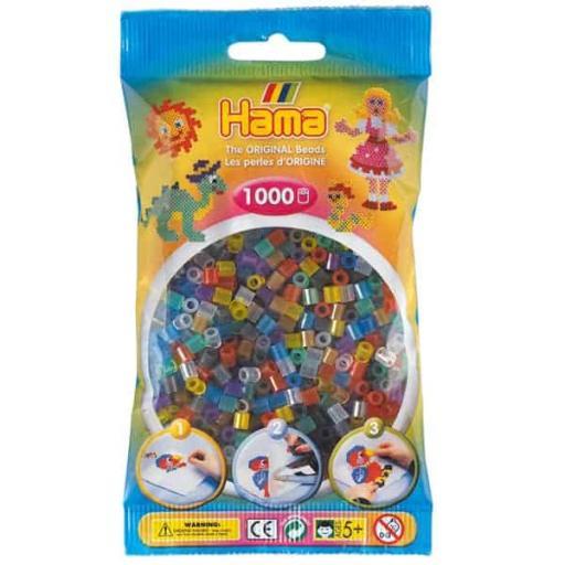 Hama 1,000 Translucent Mix Midi Beads in a Bag
