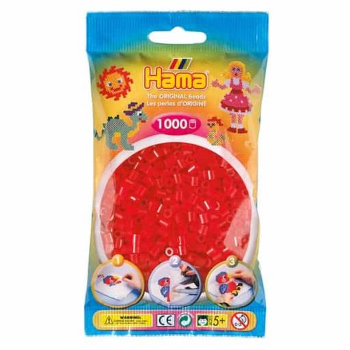 Hama 1,000 Translucent Red Midi Beads in a Bag