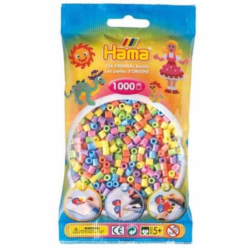 Hama 1,000 Pastel Mix Midi Beads in a Bag