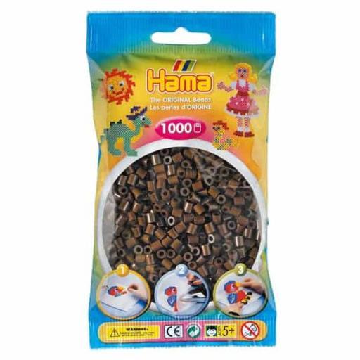 Hama 1,000 Brown Midi Beads in a Bag