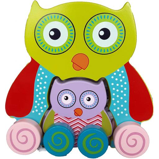 A to Z Wooden Chunky Owl Pull Along