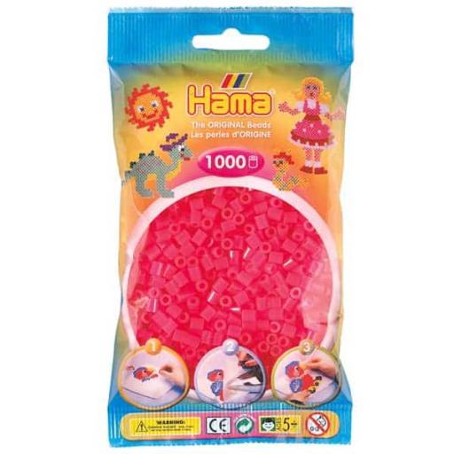 Hama 1,000 Neon Pink Midi Beads in a Bag