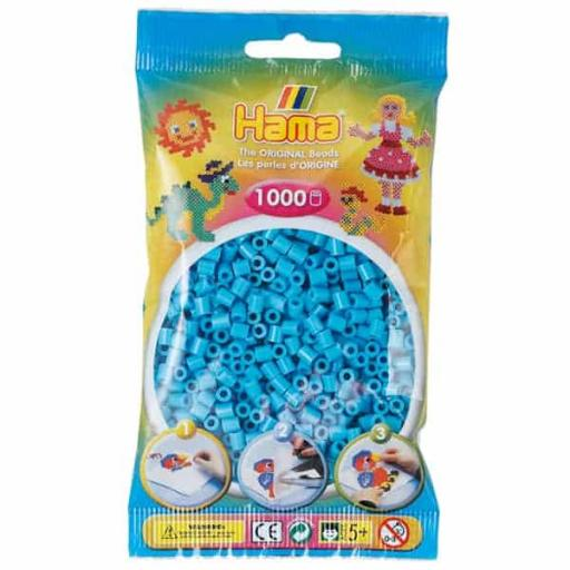 Hama 1,000 Azure Midi Beads in a Bag