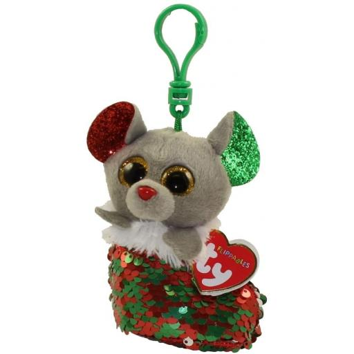 Ty Flippable Clips Chipper the Mouse Keyring