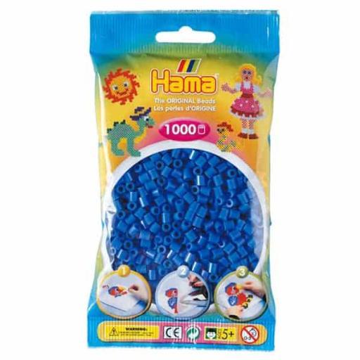 Hama 1,000 Light Blue Midi Beads in a Bag