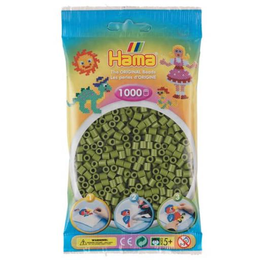 Hama 1,000 Olive Green Midi Beads in a Bag