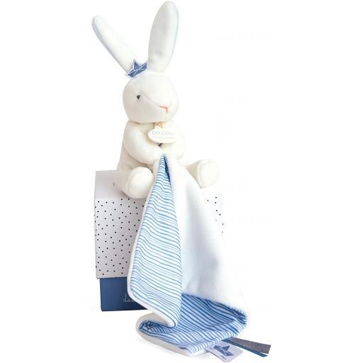 Doudou et Compagnie Matelot Rabbit Puppet with Blanket Blue Soft Plush