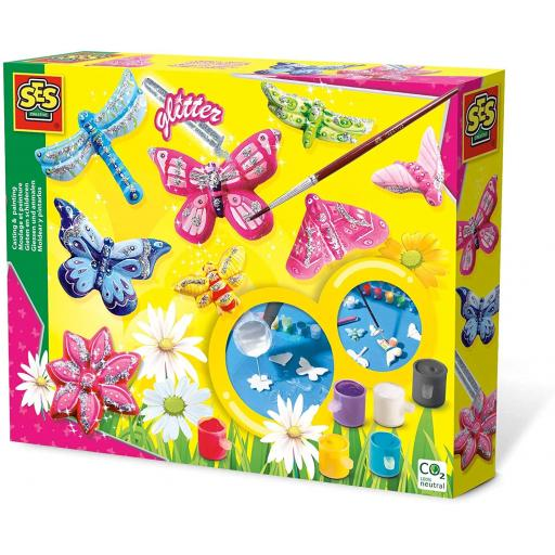 SES Creative Children's Casting and Painting Set - Butterfly Glitter