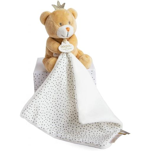 Doudou et Compagnie Little King Bear Puppet with Blanket Soft Plush