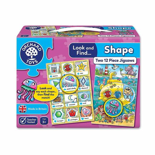 Orchard Toys Look And Find: Shape Two 12 Piece Jigsaws