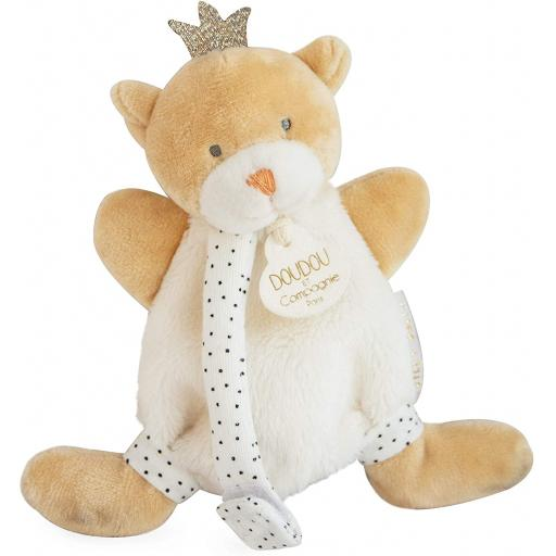 Doudou et Compagnie Bear Small King Cuddly Toy with Dummy Clip