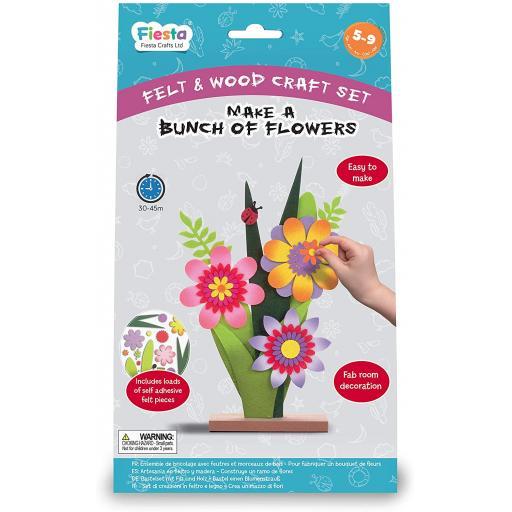 Fiesta Crafts Wood & Felt Craft Kit- Make a Bunch of Flowers