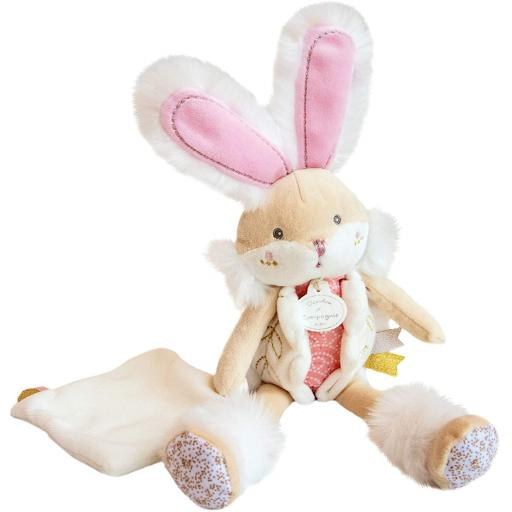 Doudou et Compagnie Rabbit Sugar Pink Pantin with Blanket