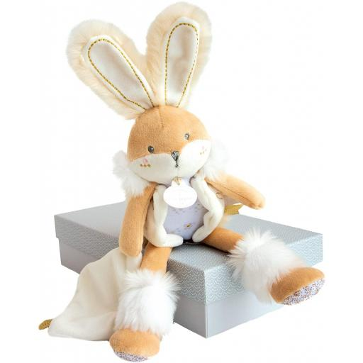 Doudou et Compagnie Rabbit Sugar White Pantin with Beige Blanket