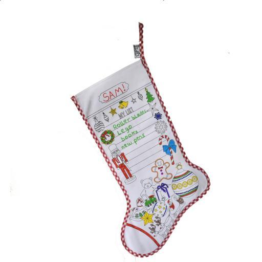 EatSleepDoodle Colouring Festive Christmas Stocking + 10 Fabric Washout Pens