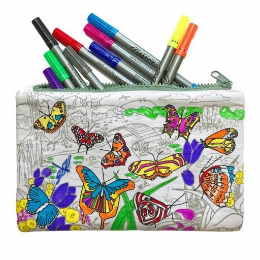 EatSleepDoodle Colouring Butterfly Doodle Pencil Case + 10 Fabric Washout Pens