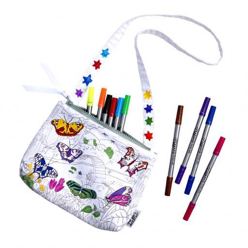 EatSleepDoodle Colouring Butterfly Crossbody Bag + 10 Fabric Washout Pens